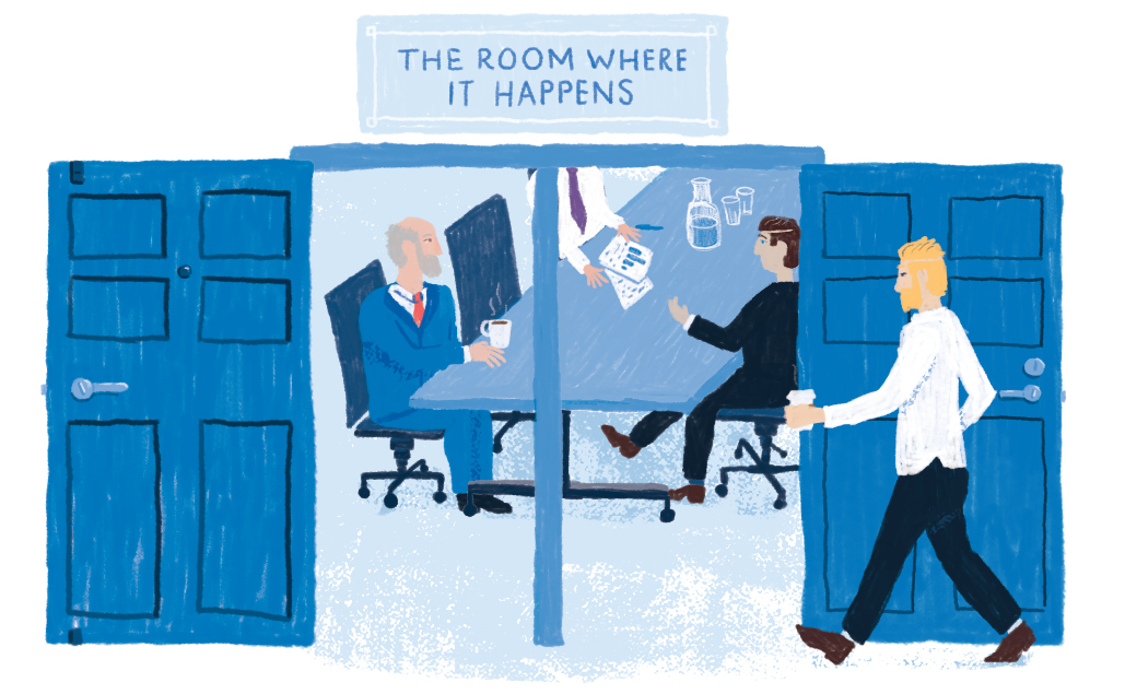 A pair of doors open for a board room meeting. A plaque reads: The room where it happens. White men are pictured meeting.