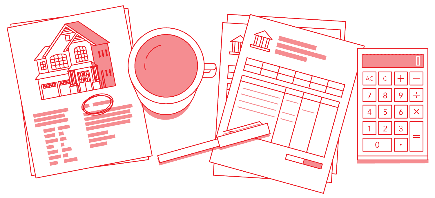 Monoline Illustration of a calculator, flyers, coffee, and bank statements.