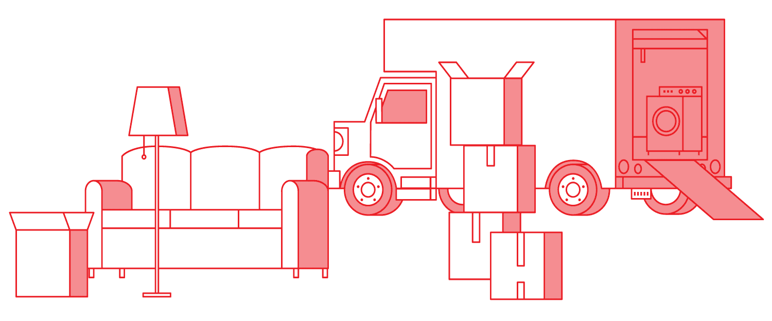 Line illustration of couch, lamp, boxes, and a moving truck
