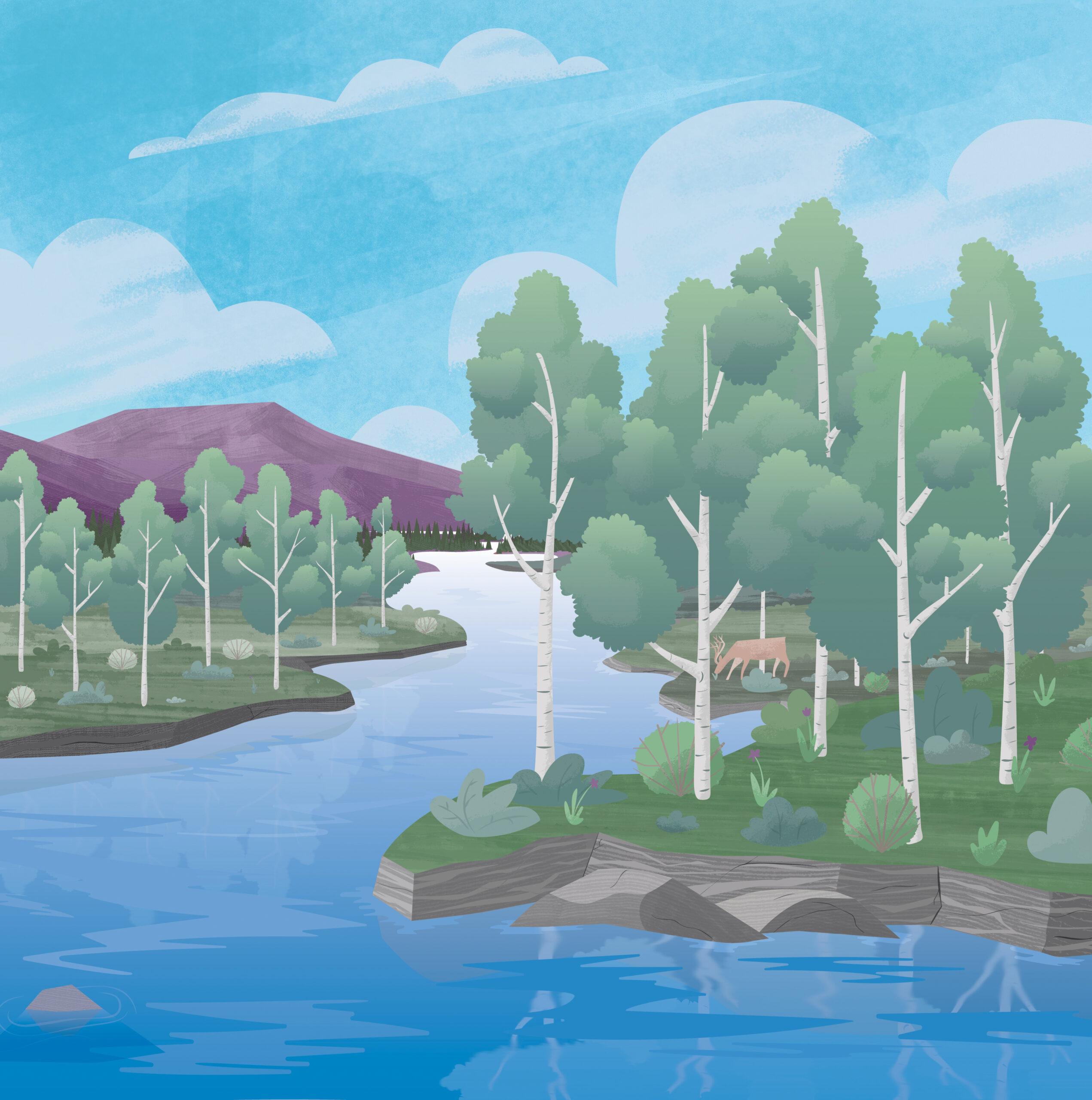 Illustration of a river in a forest. A blue sky. Mountains in the background. And a deer drinking from a river.
