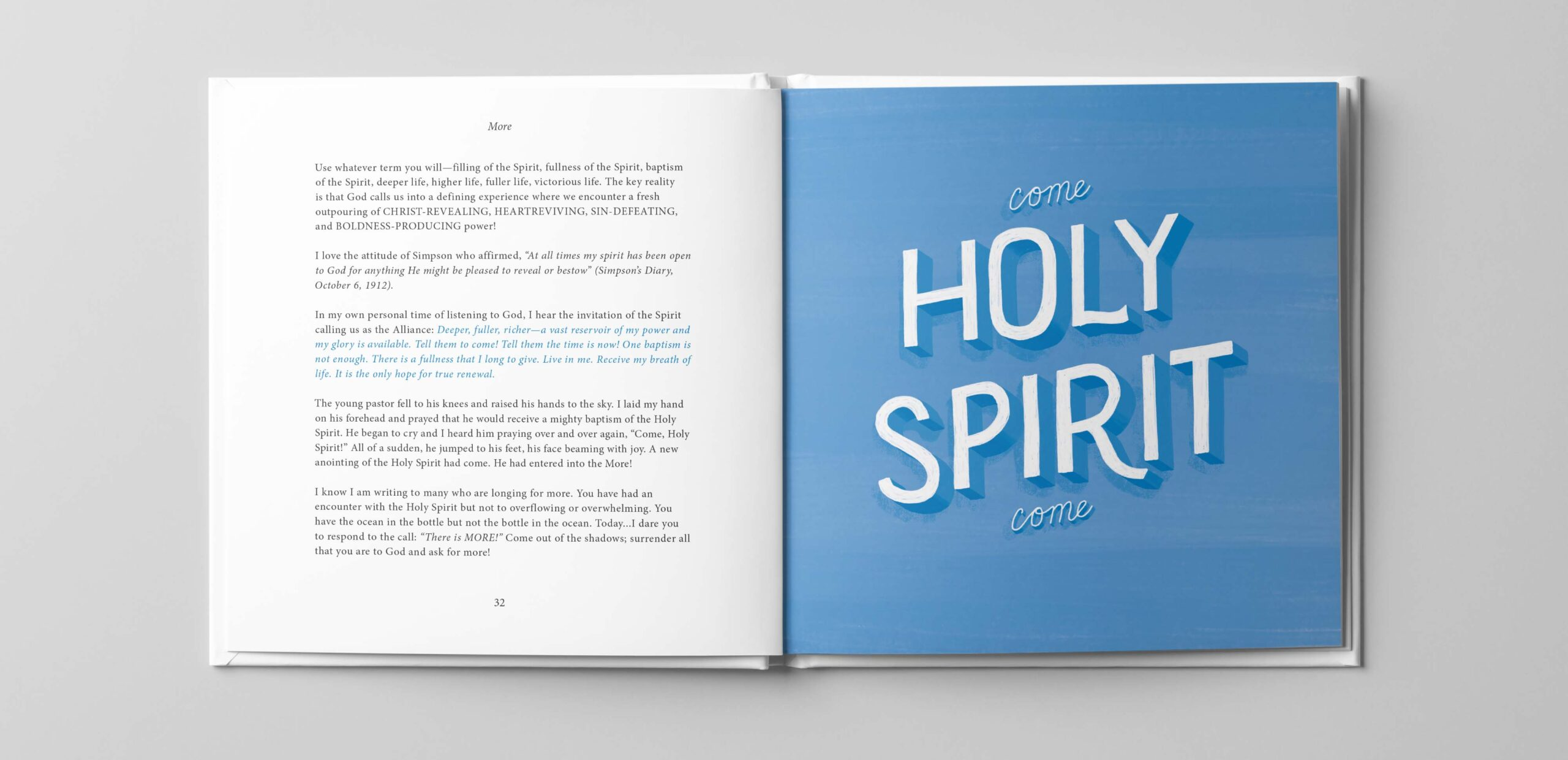 Lettering that reads come holy spirit come.