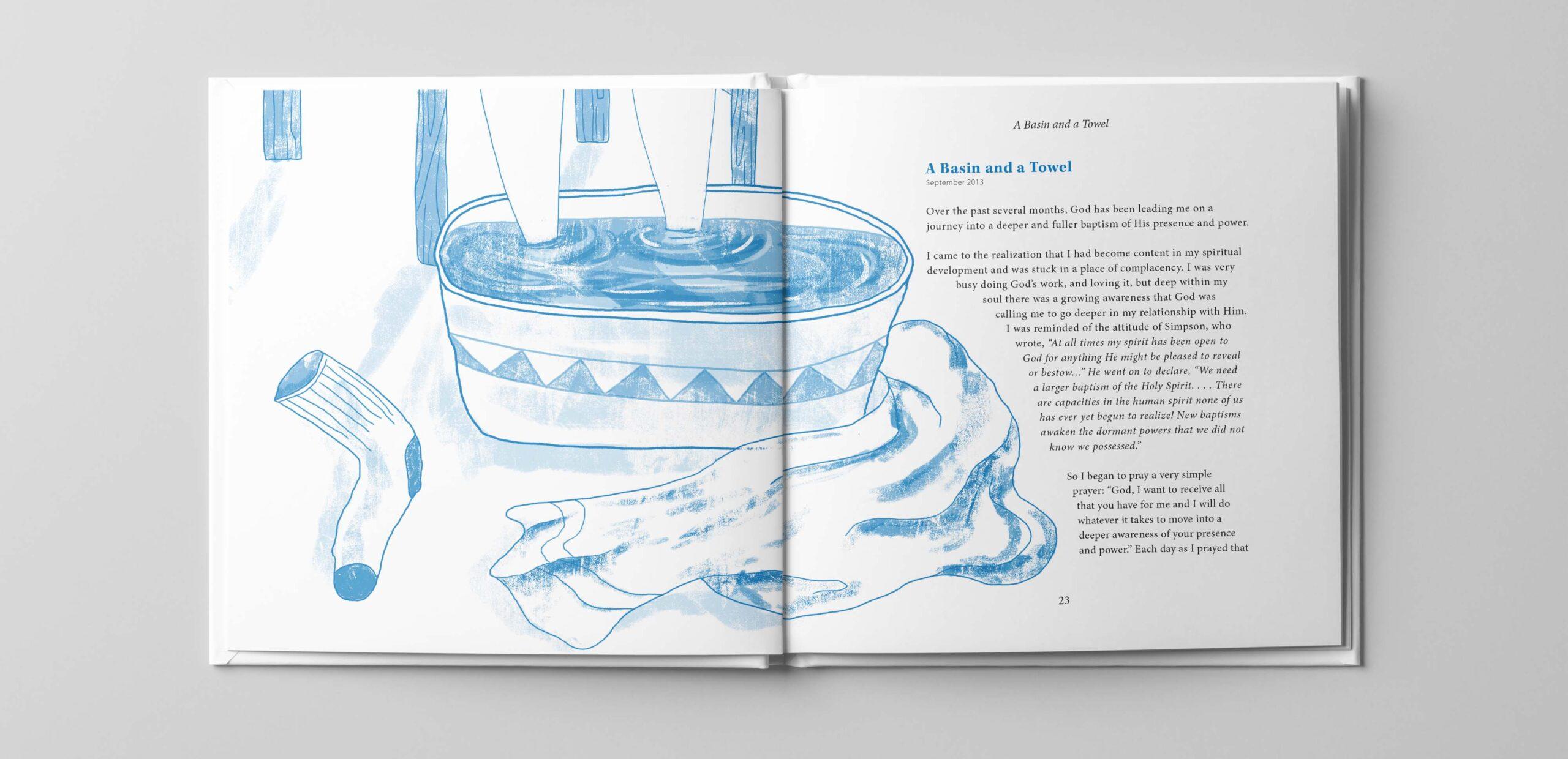 Illustration of washing feet.